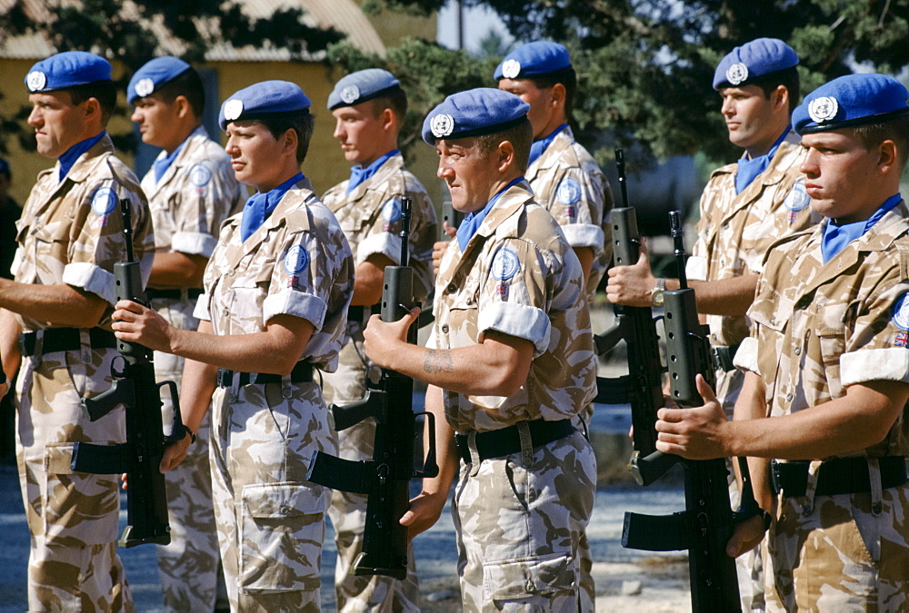 British forces part of United Nations peacekeeping troops at their UN base in Cyprus
