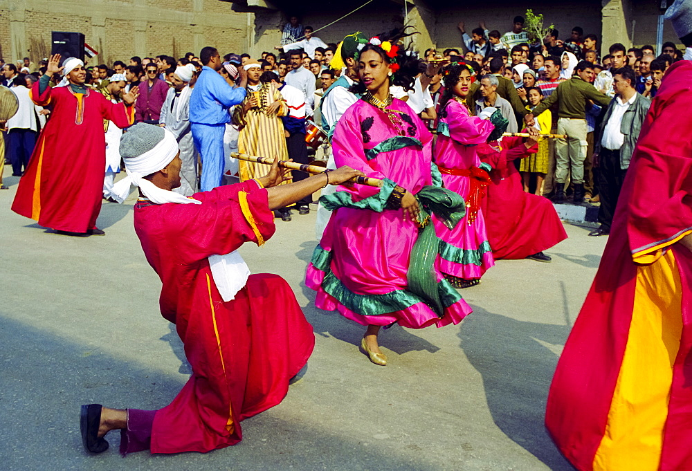 Traditional dancers taking part in cultural festival in Cairo, Egypt