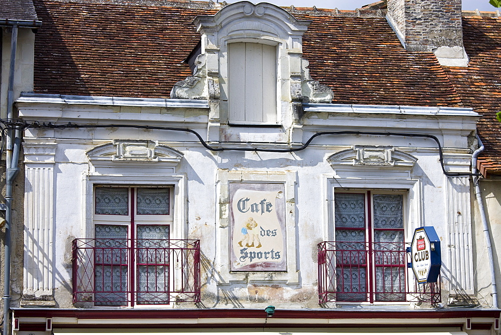 Cafe Des Sports in town of Richelieu in Loire Valley, Indre et Loire, France