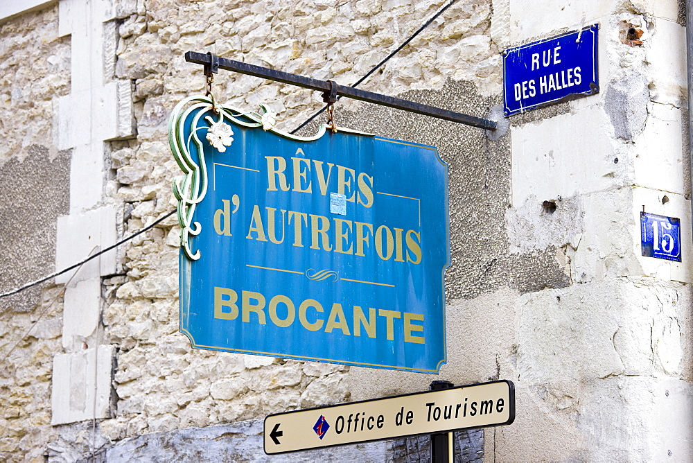 Antique shop sign, Brocante, in Rue Des Halles in town of Richelieu in Loire Valley, Indre et Loire, France