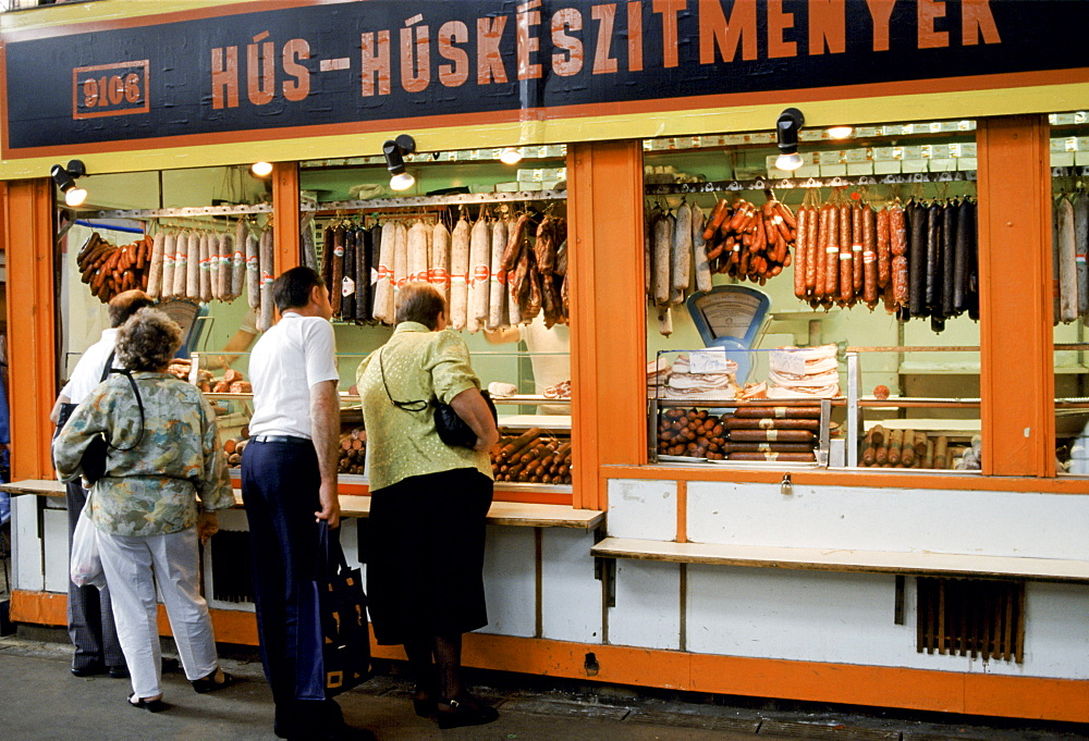 Butcher's shop selling Hungarian sausage and salami, Budapest, Hungary
