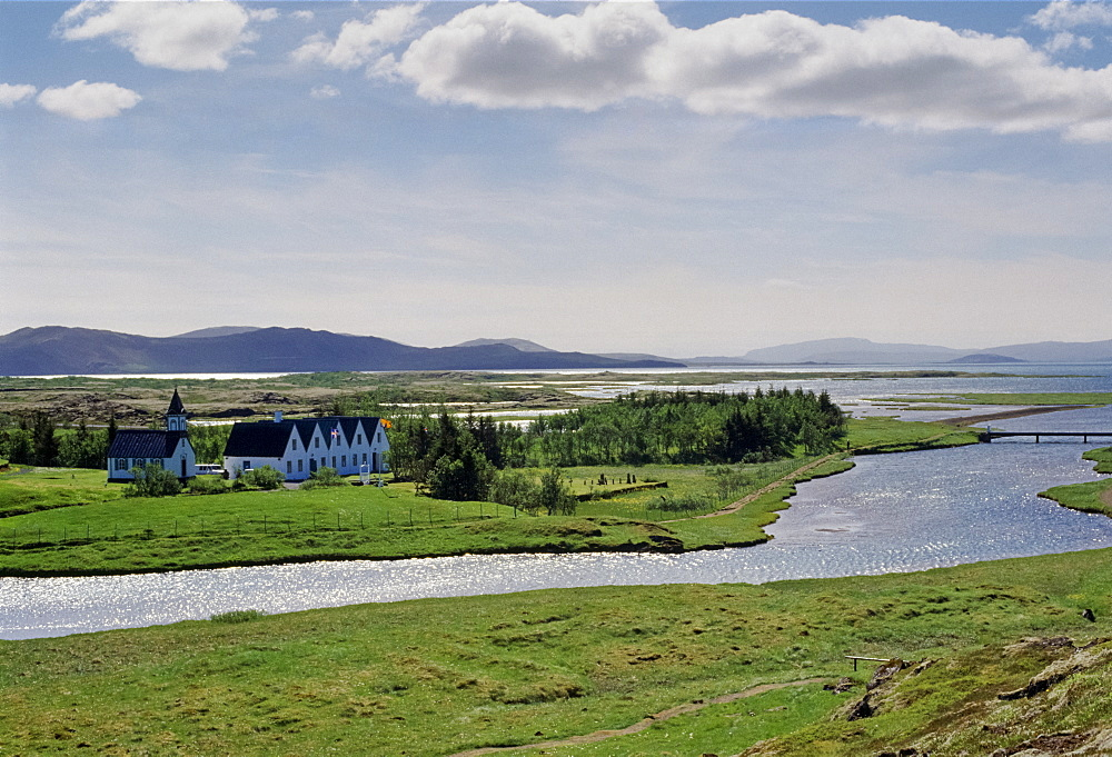Chapel and homes at Thingvellir National Park in Iceland