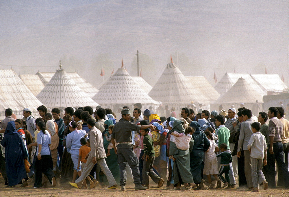 Moroccan people attending a traditional festival in Marrakesh Morocco, North Africa