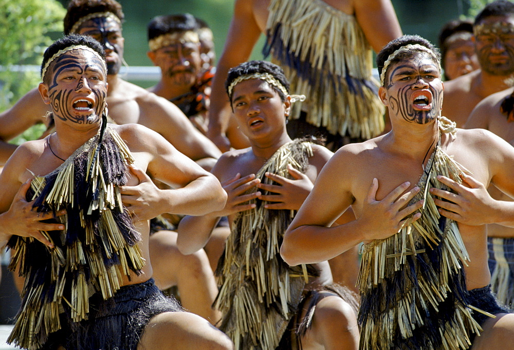 Maori warriors at a tribal gathering in New Zealand