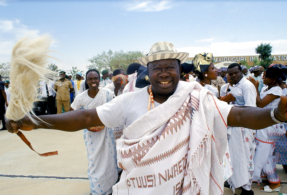 Nigerian men attending tribal gathering durbar cultural event at Maiduguri in Nigeria, West Africa