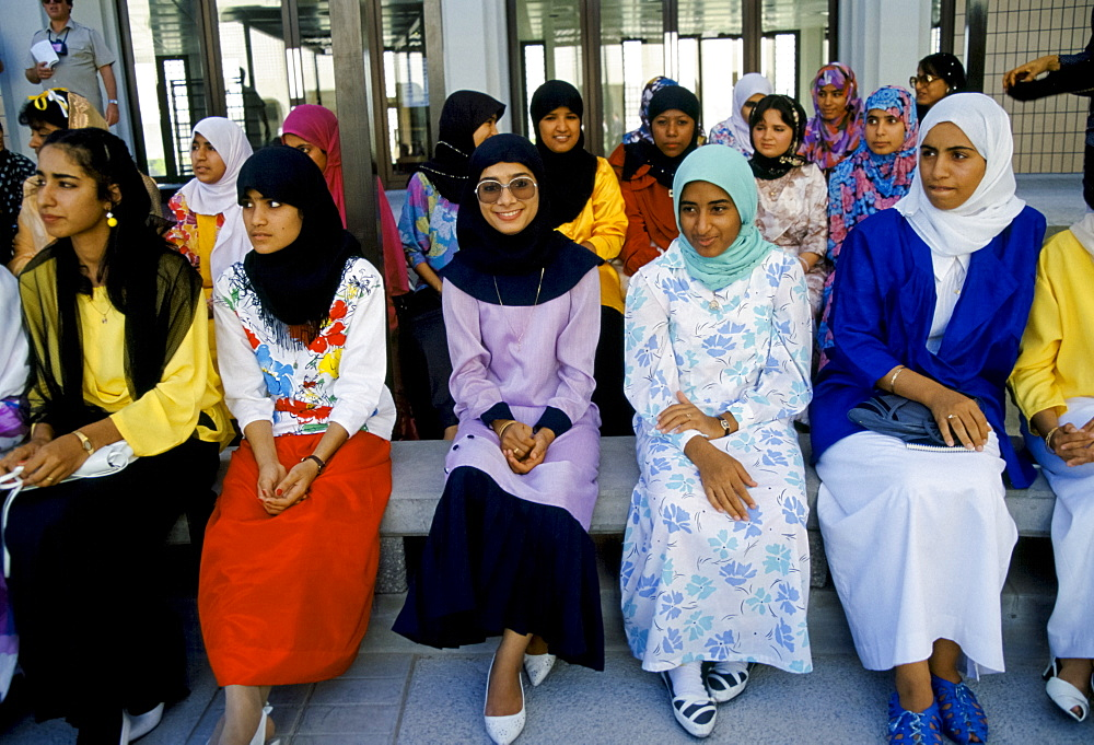 Female university students at the University of Oman in Muscat, Oman, Middle East