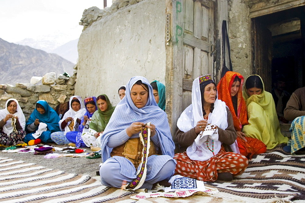 Women in a sewing group in mountain village of Altit in Hunza region of Karokoram Mountains, Pakistan