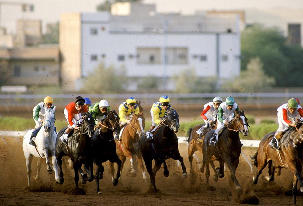 Horseracing on sandy racetrack in Riyadh, Saudi Arabia