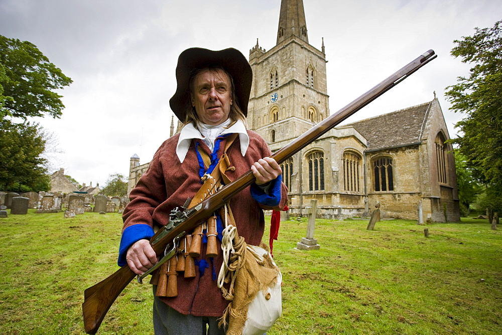 Historic re-enactment of the Levellers, of the New Model Army in Oliver Cromwell era, Burford Church, The Cotswolds