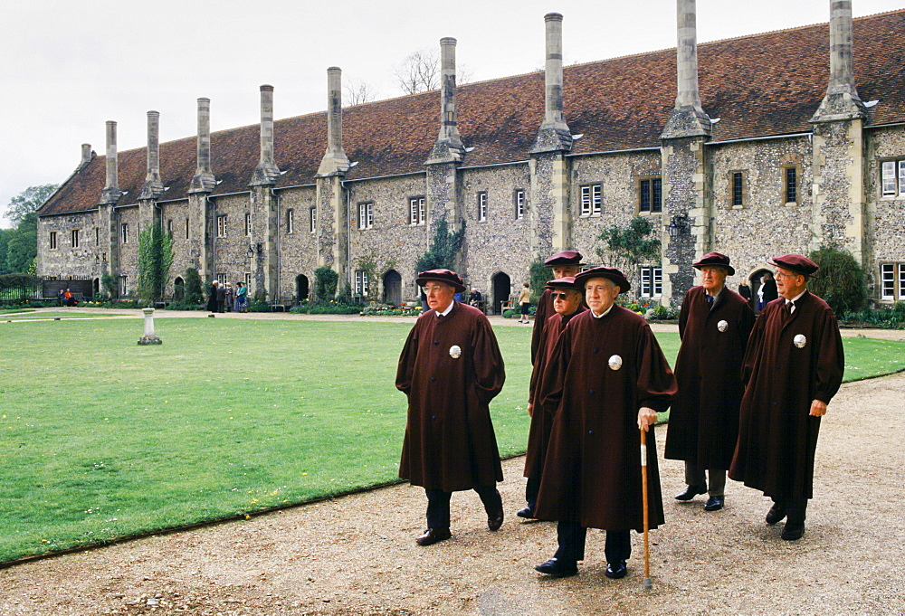 Traditional robes worn by residents at Britain's oldest charitable institution The Hospital Of St Cross founded in 1100's, Winchester, UK