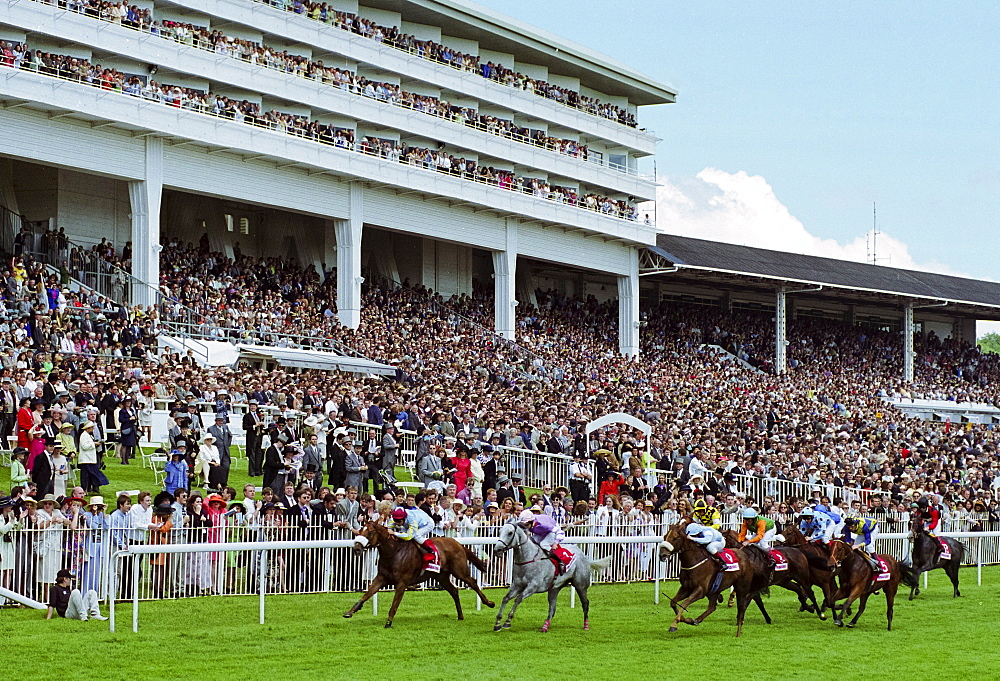 Crowds of spectactors watching the racing by the racetrack at Epsom Racecourse for Derby Day, UK