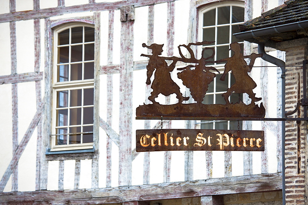 Cellier St. Pierre and traditional medieval timber-frame architecture in Place Saint Pierre at Troyes in Champagne-Ardenne region, France, Euope