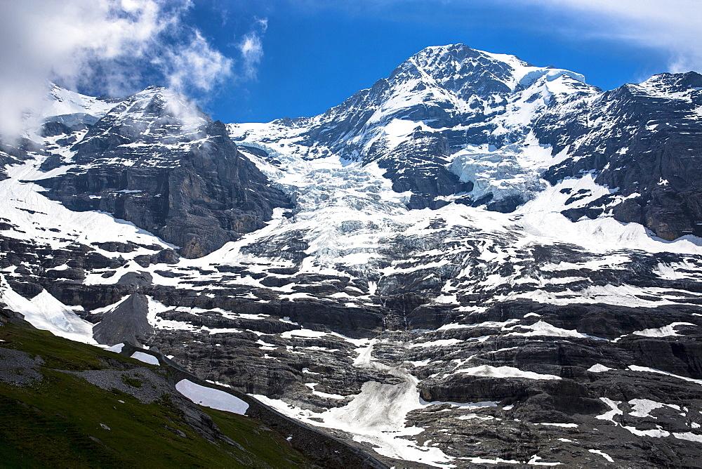 Eiger Glacier (Eigergletscher), between Monch (Monk) and Eiger mountains in the Swiss Alps, Bernese Oberland, Switzerland, Europe