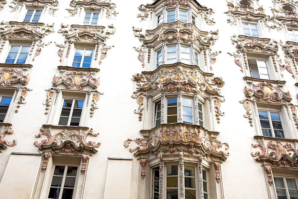 Rococo Baroque style Tyrolean architecture of Holblinghaus in Herzog Friedrich Strasse in Innsbruck, the Tyrol, Austria, Europe