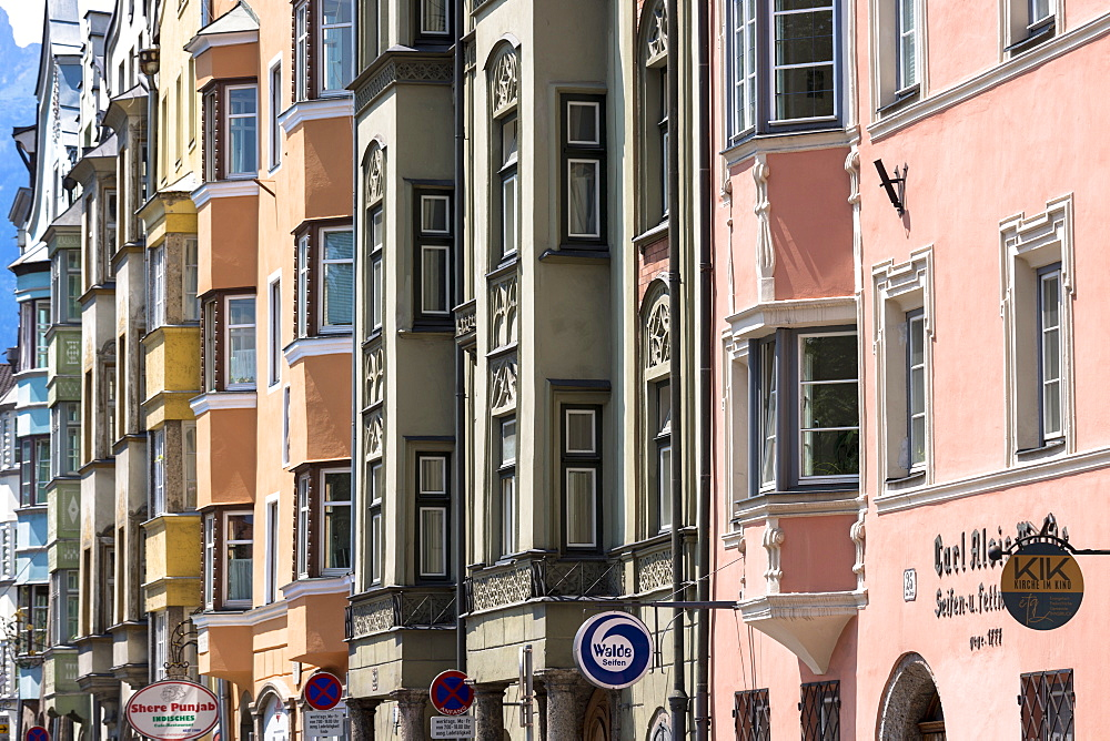 Traditional Tyrolean ornate architecture in Innsbruck in the Tyrol, Austria, Europe