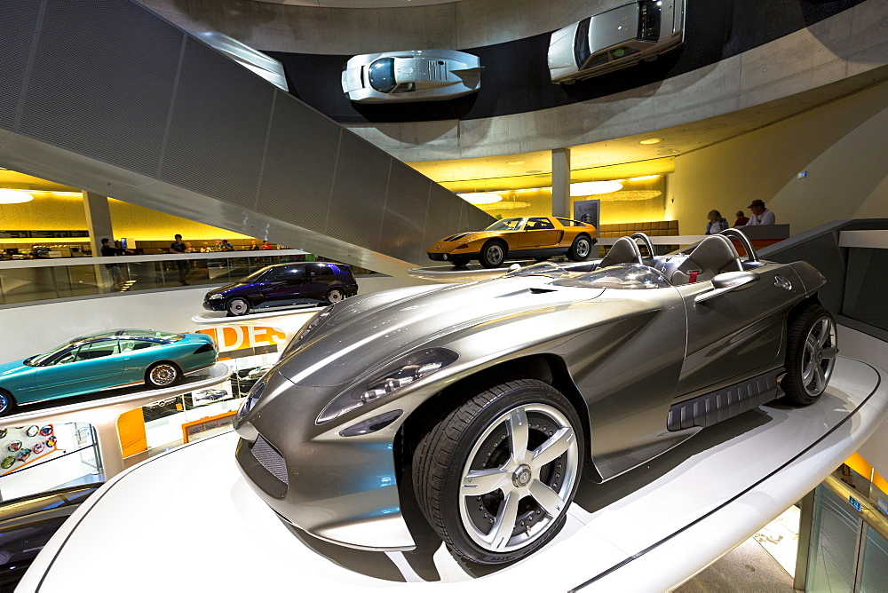 Mercedes F400 Carving V6 presented 2001 in foreground, Mercedes-Benz concept cars in museum gallery in Stuttgart, Bavaria, Germany, Europe