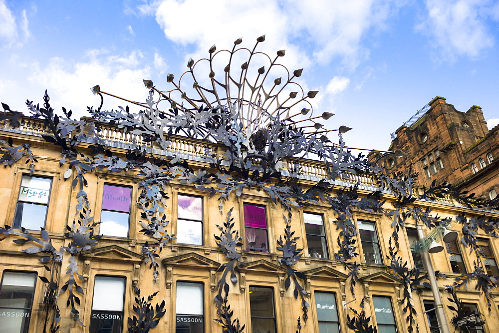 Famous peacock modern art sculpture above Prince's Square Shopping Centre in Buchanan Street, Glasgow City Centre, Scotland, United Kingdom, Europe