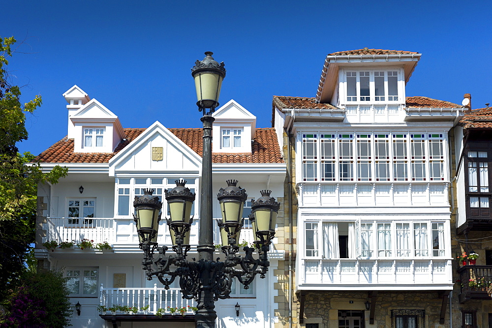 Traditional street lamp in Corro de San Pedro at Comillas in Cantabria, Northern Spain, Europe