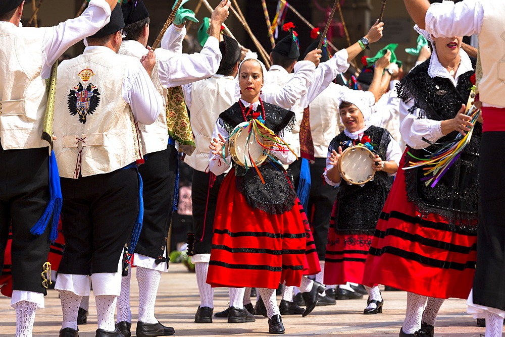 Dancing at traditional fiesta at Villaviciosa in Asturias, Northern Spain, Europe