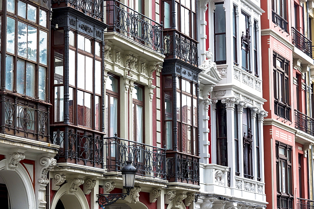 Traditional architecture in Calle San Francisco in Aviles, Asturias, Northern Spain, Europe
