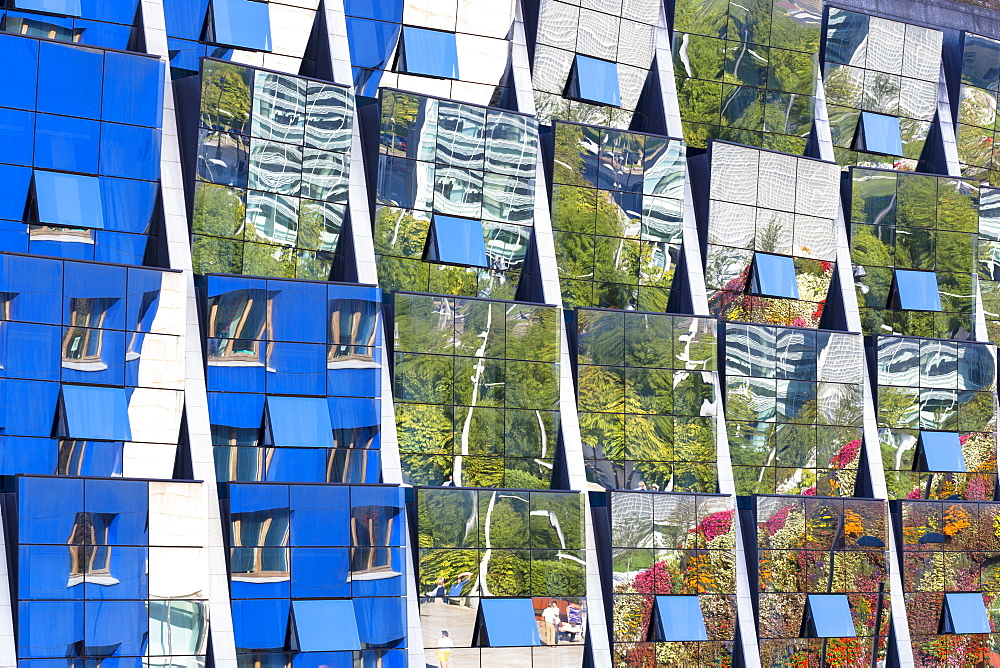Reflections in the futuristic glass-fronted Silken Gran Hotel Domine in Bilbao, Basque country, Spain, Europe