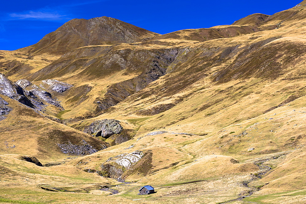 Farm hut near Laruns in French Pyrenees mountains, Pyrenees-Atlantiques in Aquitaine region, France, Europe