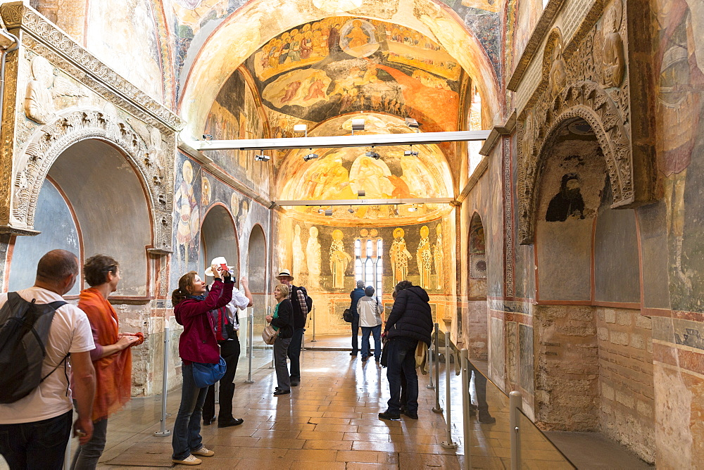 Visitors in The Church of St. Saviour in Chora, also known as the Kariye Museum, Istanbul, Turkey, Europe