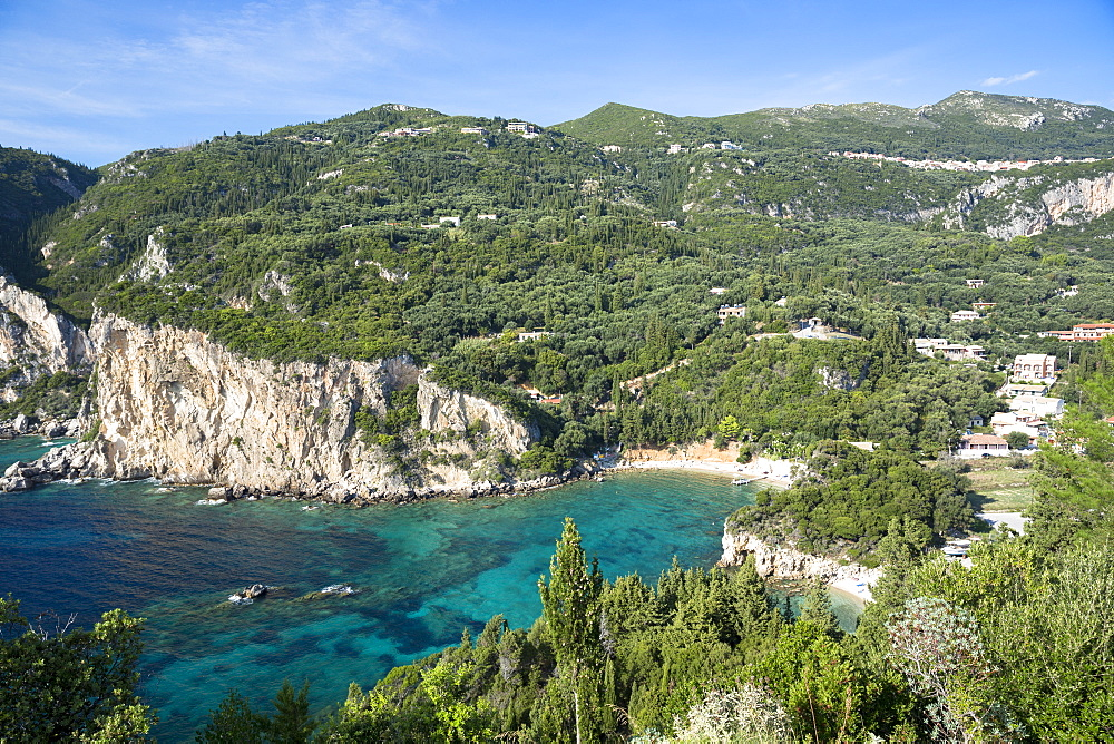 Paleokastritsa beach resort with cliffs and turquoise Ionian Sea in Corfu, Ionian Islands, Greek Islands, Greece, Europe - 1161-8663