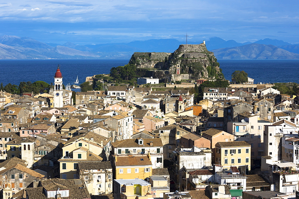 Panorama of Kerkyra, Corfu Town with Old Fort (Paleo Frourio), UNESCO World Heritage Site, Corfu, Greek Islands, Greece, Europe