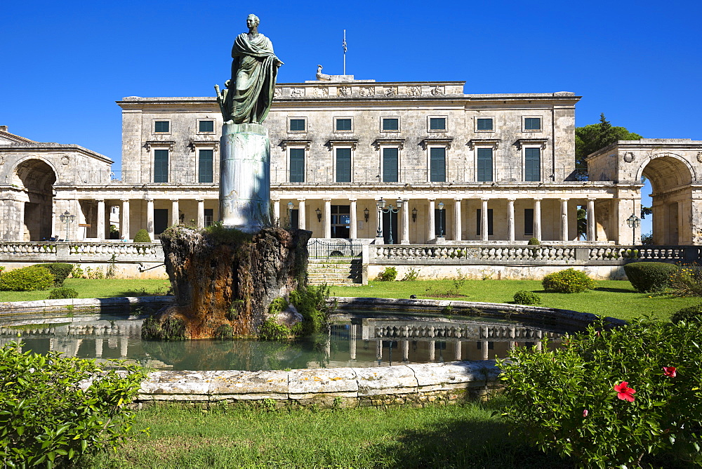 Palace of St. Michael and St. George, Museum of Asian Art, statue of Sir Frederick Adam, British High Commissioner, Kerkyra, Corfu Town, Corfu, Greek Islands, Greece, Europe - 1161-8677