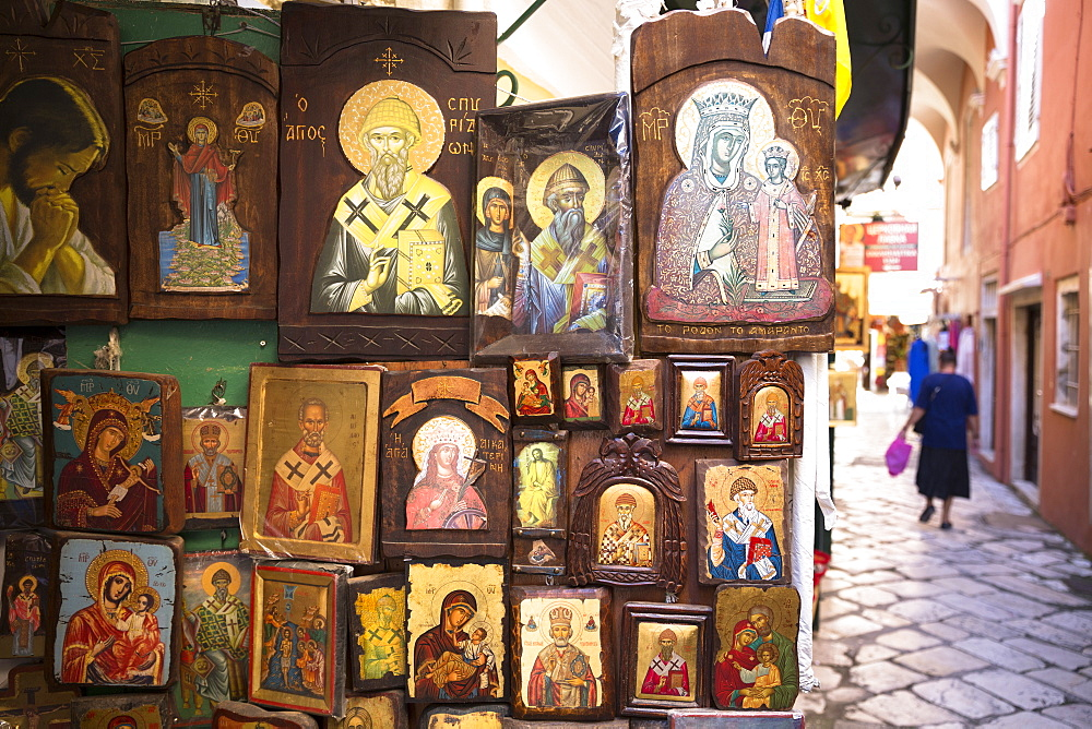 Greek Orthodox religious icons in souvenir and gift shop in Kerkyra, Corfu Town, Corfu, Greek Islands, Greece, Europe - 1161-8679