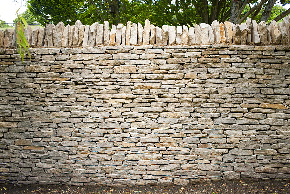 Newly built dry stone wall constructed of new Cotswolds stone using traditional old methods, Oxfordshire, England, United Kingdom, Europe - 1161-8688