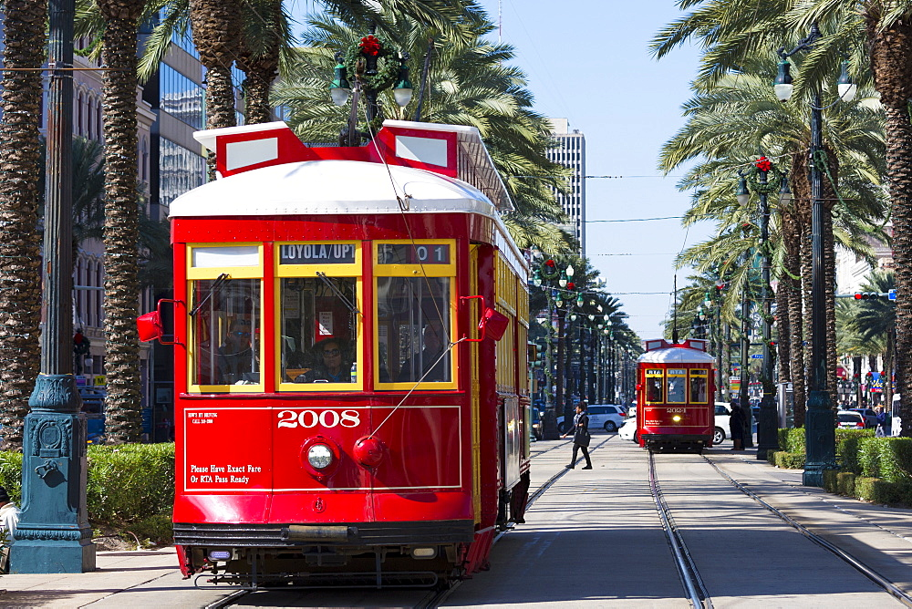 Streetcars in Canal Street in New Orleans, Louisiana, USA - 1161-8722