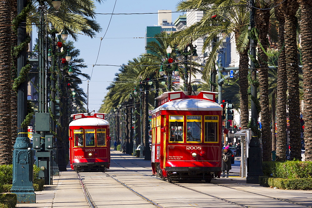 Streetcars in Canal Street in New Orleans, Louisiana, USA - 1161-8723