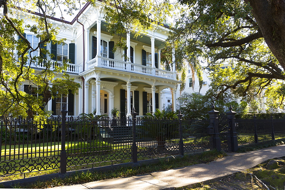 Neo-classical clapboard grand house with double gallery and columns in the Garden District, New Orleans, USA - 1161-8726