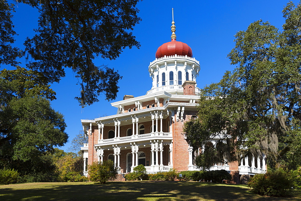 Longwood 19th Century antebellum plantation mansion house with Byzantine dome roof, live oak with moss, Natchez, Mississippi USA - 1161-8744