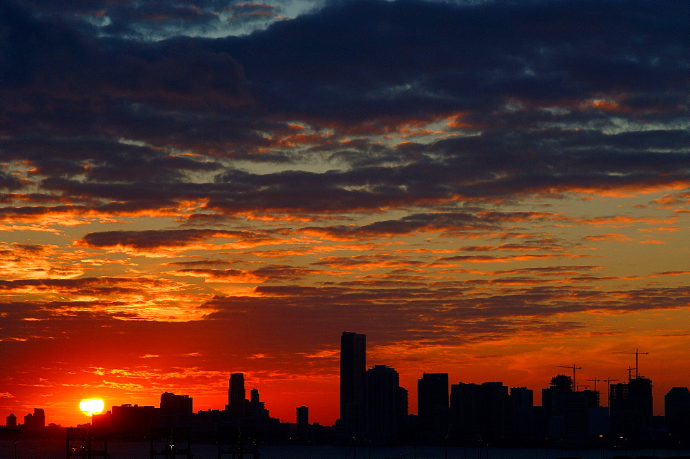 Sunset over downtown Miami, Florida, United States of America, North America
