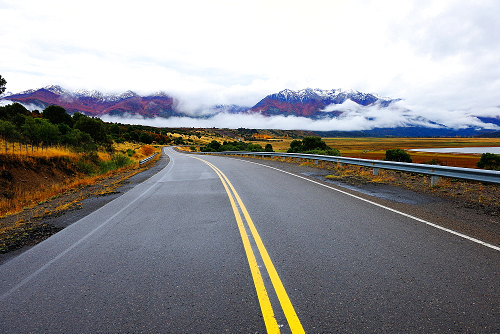 Autumn in the mountains and road, Rio Negro, Patagonia, Argentina, South America