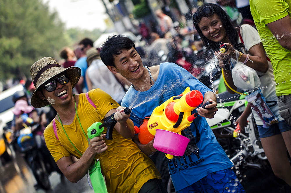 Locals celebrate Thai New Year by throwing water at one another, Songkran water festival, Chiang Mai, Thailand, Southeast Asia, Asia - 1163-56