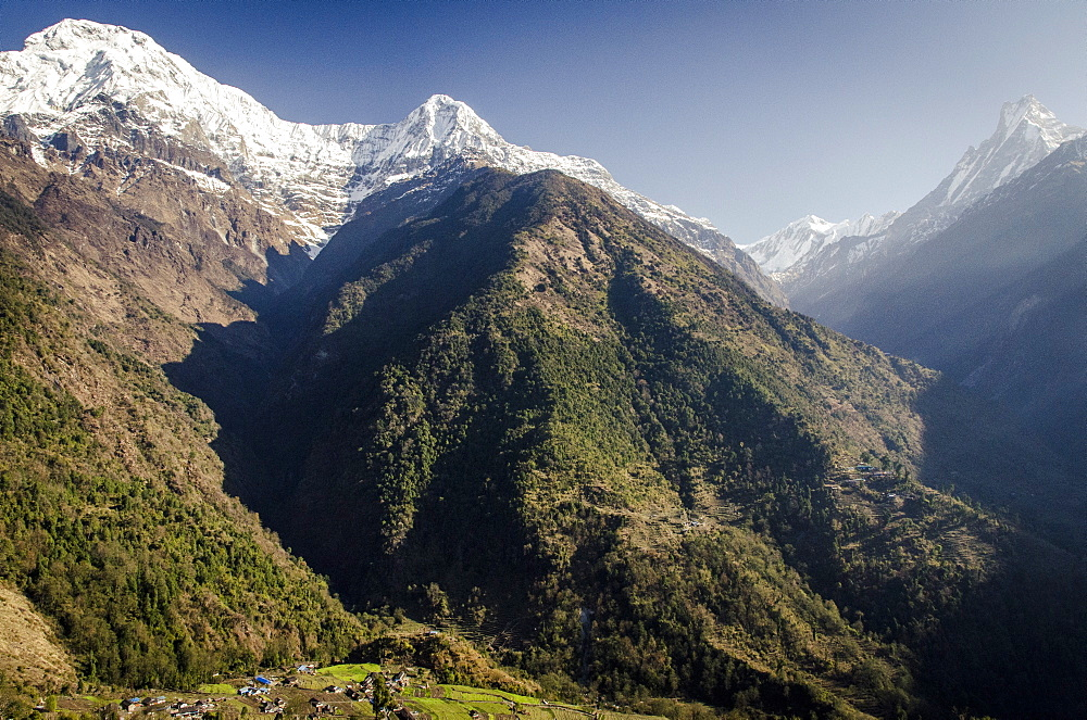 The view from Upper-Chomrong,  around 2210m, with the peaks of Annapurna South, 7219m, Hiunchuli, 6441m and Machhapuchhare, 6993m, in the background, Annapurna Conservation Area, Nepal, Himalayas, Asia  - 1163-64
