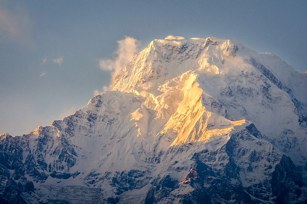 The evening sun on Annapurna South, 7219m, Annapurna Conservation Area, Nepal, Himalayas, Asia  - 1163-75