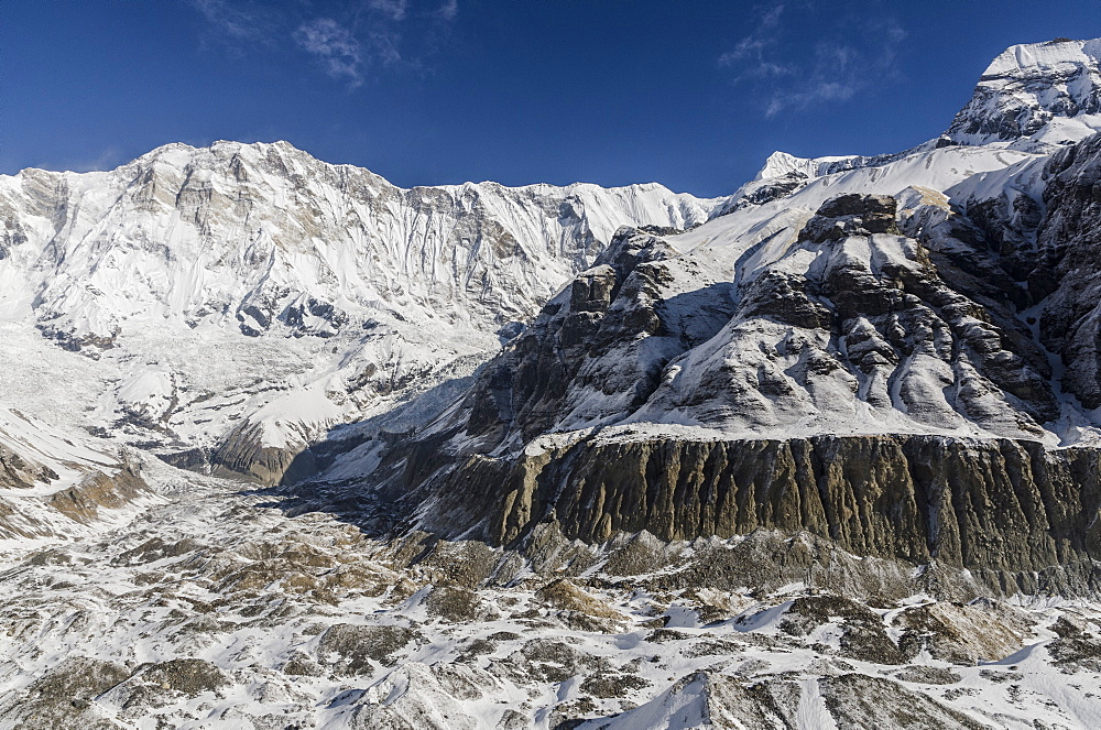 Annapurna I, 8091m, South Annapurna Glacier and its moraine and moraine ridge, from Annapurna Base Camp, 4130m, Annapurna Conservation Area, Nepal, Himalayas, Asia  - 1163-79