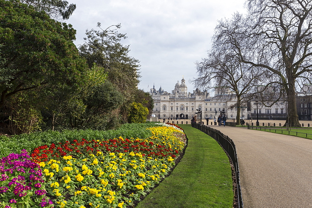 Spring flowers in St. James's Park, with view to Horse Guards, Whitehall, London, England, United Kingdom, Europe