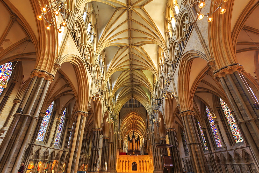 Nave and Choir Screen, Lincoln Cathedral interior, one of Europe's finest Gothic buildings, Lincoln, Lincolnshire, England, United Kingdom, Europe