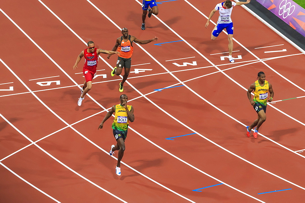 Usain Bolt after winning Men's 200m final, with finger to lips, Stadium, London 2012, Summer Olympic Games, London, England, United Kingdom, Europe