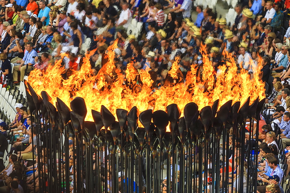 Olympic Flame burns brightly in Olympic Cauldron, Olympic Stadium, London 2012, Summer Olympic Games, London, England, United Kingdom, Europe