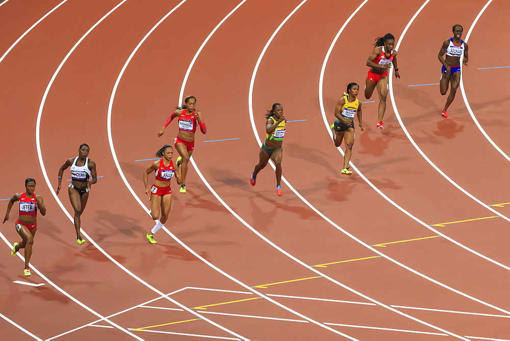 Finalists run the bend, Women's 200m final, Olympic Stadium, London 2012, Summer Olympic Games, London, England, United Kingdom, Europe