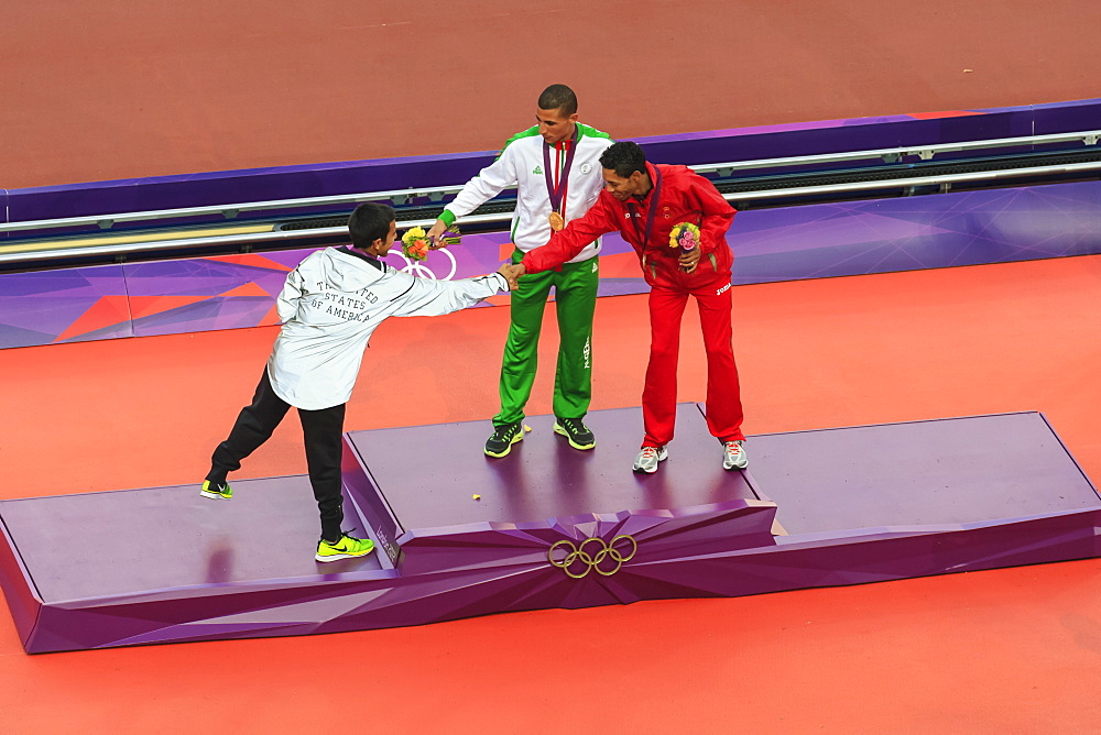 Victory ceremony of Men's 1500m, medalists shake hands, London 2012, Summer Olympic Games, London, England, United Kingdom, Europe