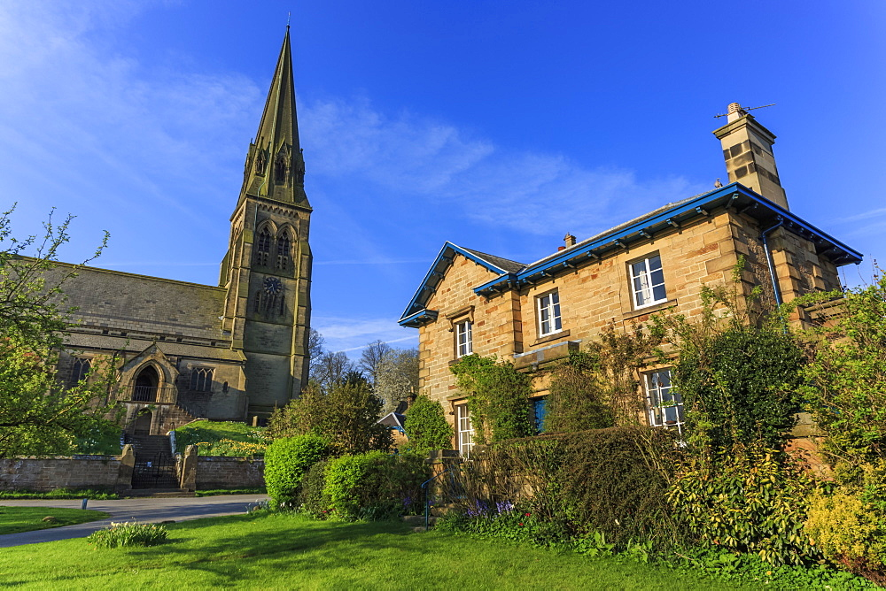 St. Peter's Church and house on Village Green, Edensor, Chatsworth Estate, home of Duke of Devonshire, Derbyshire, England, United Kingdom, Europe