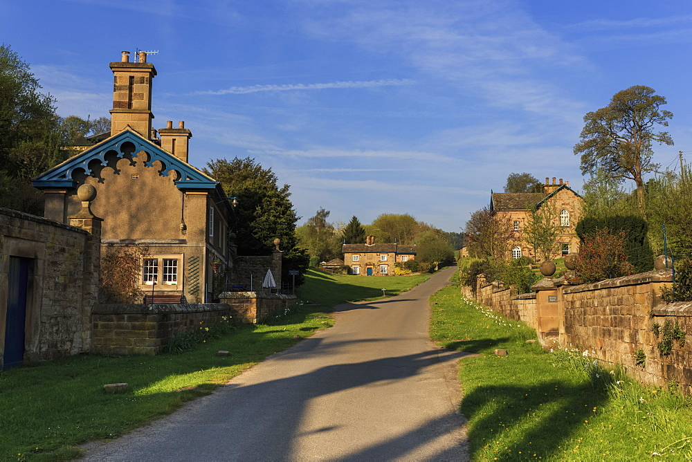 Spring morning at Edensor, Estate Village at Chatsworth, home of Duke of Devonshire, near Chesterfield, Derbyshire, England, United Kingdom, Europe